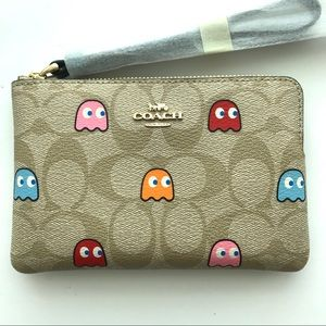 COACH x Pac-Man Leather Corner Zip Wallet Limited